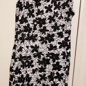 Calvin Klein Black and White flower print dress